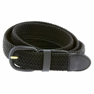 """7001 Leather Covered Buckle Woven Elastic Stretch Belt 1-1/4"""" Wide - Black"""