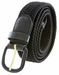 """7001 Leather Covered Buckle Woven Elastic Stretch Belt 1-1/4"""" Wide - Black2"""