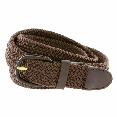 """7001 Leather Covered Buckle Woven Elastic Stretch Belt 1-1/4"""" Wide - Brown"""