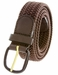 """7001 Leather Covered Buckle Woven Elastic Stretch Belt 1-1/4"""" Wide - Brown2"""