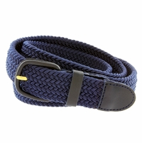 "7001 Leather Covered Buckle Woven Elastic Stretch Belt 1-1/4"" Wide - Navy"
