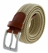"7001G Fabric Leather Elastic Woven Stretch Belt 1-3/8"" Wide - Beige2"