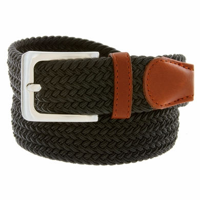 "7001G Fabric Leather Elastic Woven Stretch Belt 1-3/8"" Wide - Black"