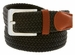 """7001G Fabric Leather Elastic Woven Stretch Belt 1-3/8"""" Wide - Black"""