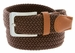"7001G Fabric Leather Elastic Woven Stretch Belt 1-3/8"" Wide - Brown"