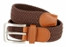 "7001G Fabric Leather Elastic Woven Stretch Belt 1-3/8"" Wide - Brown1"
