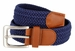 "7001G Fabric Leather Elastic Woven Stretch Belt 1-3/8"" Wide - Navy1"