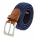 "7001G Fabric Leather Elastic Woven Stretch Belt 1-3/8"" Wide - Navy2"
