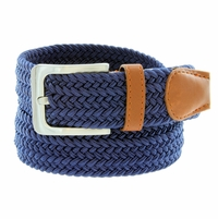 "7001G Fabric Leather Elastic Woven Stretch Belt 1-3/8"" Wide - Navy"