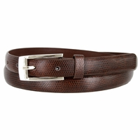 7045 Women's Skinny Lizard Skin Embossed Leather Casual Dress Belt with Buckle - Brown