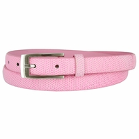 7045 Women's Skinny Lizard Skin Embossed Leather Casual Dress Belt with Buckle - Pink