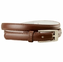 "7055 Solid Brown Skinny Dress Belt 3/4"" or 19mm Wide"