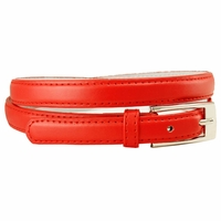 "7055 Solid Red Skinny Dress Belt 3/4"" or 19mm Wide"