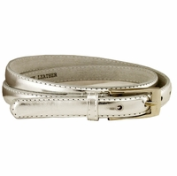 "7055 Solid Silver Skinny Dress Belt 3/4"" or 19mm Wide"