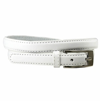 "7055 Solid White Skinny Dress Belt 3/4"" or 19mm Wide"