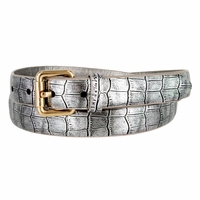 7075 Women's Skinny Matte Alligator Skin Embossed Leather Casual Dress Belt - Silver