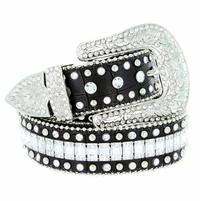 "8047 Women's Western Cowgirl rhinestone-studded Leather Belt 1-1/2"" Wide Black"