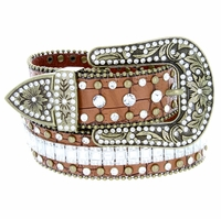 "8047 Women's Western Cowgirl rhinestone-studded Leather Belt 1-1/2"" Wide Brown"