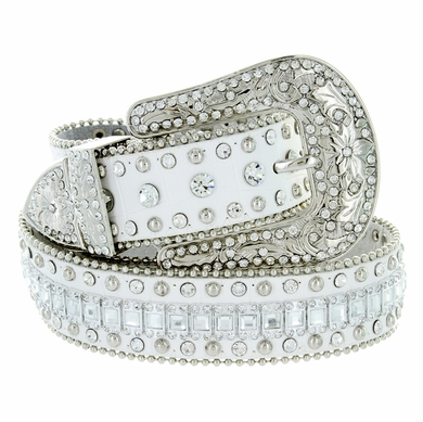 "8047 Women's Western Cowgirl rhinestone-studded Leather Belt 1-1/2"" Wide White"