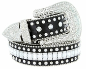 "8047 Women's Western Cowgirl Rhinestones Studded Leather Belt 1-1/2"" Wide Black"