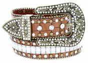 "8047 Women's Western Cowgirl Rhinestones Studded Leather Belt 1-1/2"" Wide Brown"