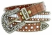 "8047 Women's Western Cowgirl rhinestone-studded Leather Belt 1-1/2"" Wide Brown1"