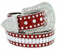 "8047 Women's Western Cowgirl Rhinestones Studded Leather Belt 1-1/2"" Wide RED"
