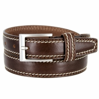 "8118/30 Men's Italian Leather Dress Casual Belt 1-1/8"" Wide Made in Italy - T. Moro (Dark Brown)"