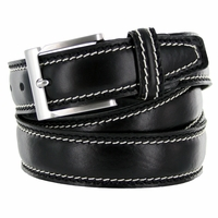 "8118/35 Men's Italian Leather Dress Casual Belt 1-3/8"" Wide Made in Italy - Nero (Black)"