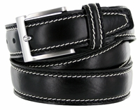 8118 Men's Italian Leather Dress Casual Belt Made in Italy - Nero (Black)
