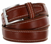 "8118/35 Men's Italian Leather Dress Casual Belt 1-3/8"" Wide Made in Italy - Marrone (Brown)"