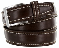 8118 Men's Italian Leather Dress Casual Belt Made in Italy - T.Moro(Dark Brown)
