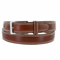 "8119/30 Men's Italian Leather Dress Casual Belt 1-1/8"" Wide Made in Italy - Marrone (Brown)"