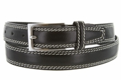 "8119/30 Men's Italian Leather Dress Casual Belt 1-1/8"" Wide Made in Italy - Nero (Black)"