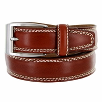 "8119/35 Men's Italian Leather Dress Casual Belt 1-3/8"" Wide Made in Italy - Marrone (Brown)"