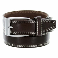 "8119/35 Men's Italian Leather Dress Casual Belt 1-3/8"" Wide Made in Italy - T. Moro (Dark Brown)"