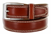 8119 Men's Italian Leather Dress Casual Belt Made in Italy - Marrone (Brown)