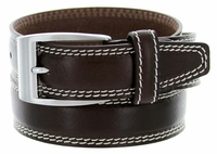 8119 Men's Italian Leather Dress Casual Belt Made in Italy - T.Moro (Dark Brown)