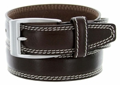 "8119/35 Men's Italian Leather Dress Casual Belt 1-3/8"" Wide Made in Italy - T.Moro (Dark Brown)"