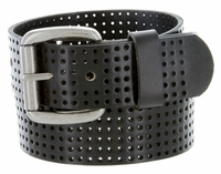 "826801 Perforated 100% Leather Casual Jean Belt 1-1/2"" Wide - Black"