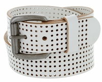 "826802 Perforated 100% Leather Casual Jean Belt 1-1/2"" Wide - White"