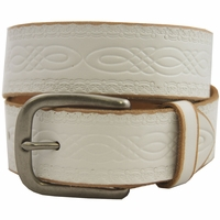 85 Vintage Genuine Leather Belt-White