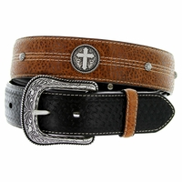 "8569500 Roper Western Cross Conchos Basketweave Leather Belt 1-1/2"" wide"