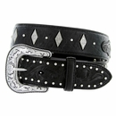 "8573500 Roper Western Gator Print Hand-tooled Leather Conchos Belt 1-1/2"" - Black"