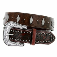 "8573500 Roper Western Gator Print Hand-tooled Leather Conchos Belt 1-1/2"" - Brown"