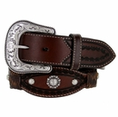 8574500 Roper Men's Western Conchos Scalloped Leather Belt 1-1/2""