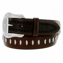 8577500 Roper Western Oily Buffalo Hand-tooled Basketweave Leather Belt