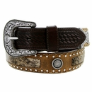 "8578500 Roper Western Buckle Hair on conchos Leather Belt 1-1/2"" - Brown"