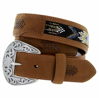 "8580500 Roper Western Beaded Leather Belt 1-1/2"" - Brown"