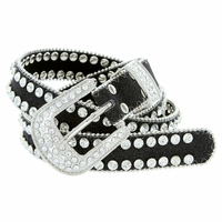 "9001 Women's rhinestone-studded Fashion Belt 1"" Wide Black"